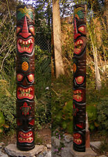 Tiki Totem 3 faceTribal Wood Wall Mask Patio Tropical Bar Decor 60""