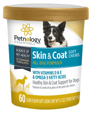 Petnology Healthy Skin & Coat Soft Chews for Dog Puppy Vitamin D & E OMEGA 60ct