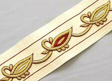 Gold Bullion on Natural Cream White. Hand-Beaded Trim. Gold, Silver & Red Trimmi
