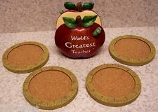 Drink Coaster Set of 4 World's Greatest Teacher Apple N