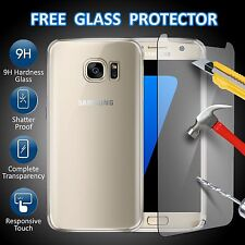 For Samsung Galaxy S7 Clear Ultra Thin TPU Gel Case Cover & Tempered Glass