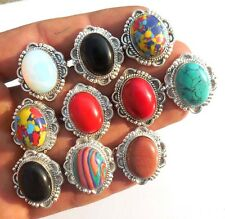 TURQUOISE &MIX JEWELRY WHOLESALE! LOT 10PCS 925 STERLING SILVER! OVERLAY RING!!!