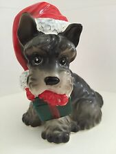 Josef Originals-Puppy Dog in Santa Hat with Package Figurine -Japan