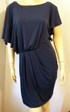 NWT VINCE CAMUTO Blue Night Asymmetrical Draped Tuck Pleated Chic Dress S