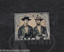 AMERICAN OUTLAWS SMOKING CIGARS GREAT ANTIQUE AMERICANA AMBROTYPE PHOTOGRAPH