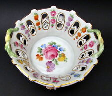 Antique Hand Painted Dresden Reticulated Roses Bowl Carl Thieme 1900+
