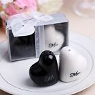 Heart Ceramic Mr. & Mrs. Salt & Pepper Shakers Canister Set Wedding Party Favors