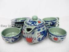 Japanese Chinese Oriental Ceramic Hot Tea Pot Mug Cup Set Dragon Infuser Filter