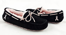UGG Dakota Breast Cancer Awareness Black Pink Fur Slippers Size 8 *NEW IN BOX*