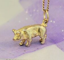 "Cute 3D Yellow Gold ""PIG CHARM"" Guaranteed Genuine 9ct Gold"