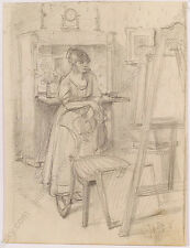 "Robert Scheffer (1858-1934) ""Scene in Artist's Studio"", Drawing, ca.1900"