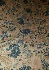 3pc SET Pottery Barn Linen Blend Teal Jacobean Flowers Full / Queen Duvet Cover