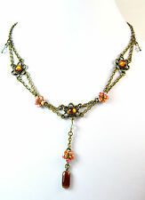 LADIES BRONZE ORANGE FLORAL MULTI LAYER NECKLACE STUNNING BRAND NEW UNIQUE (A19)