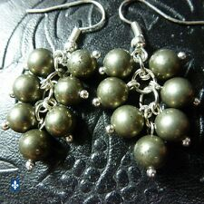 ♥ Nice Natural Pyrite Beads Cluster Silver Plated Earrings