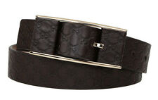 NEW GUCCI LADIES BROWN LEATHER MICROGUCCISSIMA GG LOGO BUCKLE BELT 80/32