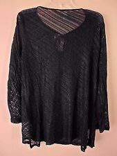 Baja Blue  Women's Sheer Swimwear Cover up Top Size Large Knit woven Fabric