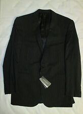 NWT Ralph Lauren Black Label Mens Black Striped 100% Wool Suit Size 44L $2095