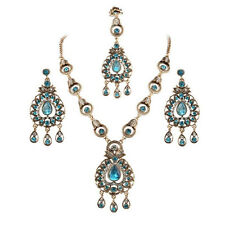 Gorgeous Indian Bridal Sapphire Jewellery Maang Tikka Headpiece 3 Pc Jewelry Set