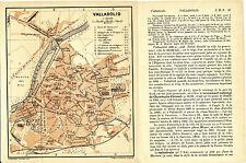 Valladolid 1908 mapa orig. + guía francés (3 p.) Universidad Campo Grande Benito