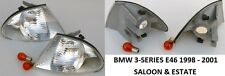 BMW E46 3 SERIES 98-01 PAIR FRONT INDICATORS 2X INDICATOR LEFT RIGHT CLEAR WHITE