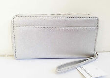 BNWT Authentic LIZ CLAIBORNE Zip Around Clutch Wallet Wristlet Silver Metallic