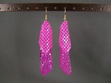 "Pink Purple lightweight dangle liquid mesh metal 3.5"" long flowy earrings"