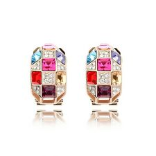 18K Rose Gold Plated Genuine Swarovski Crystal Luxury Queen French Clip Earrings