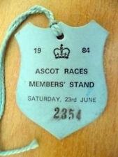 PASS/BADGE - ASCOT RACE MEMBERS STAND RACECOURSE BADGE,Saturday 23 June 1984