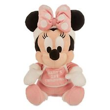 "DISNEY PARK AUTHENTIC MINNIE MOUSE HOLIDAY PLUSH ""BABY'S 1ST CHRISTMAS"" 9"" H NWT"