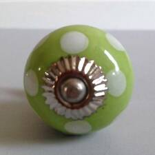 New Lime Green with White Polka Dot Ceramic Drawer Pull Knob Handle Kitchen Home
