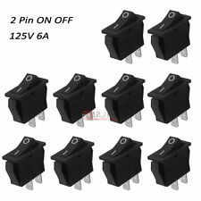 10pcs Car Truck Boat Round Rocker 2 Pin ON OFF Toggle SPST Switches 125V 6A