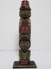 OLD NORTHWEST COAST CARVED PAINTED WOOD TOTEM POLE TLINGIT ALASKAN