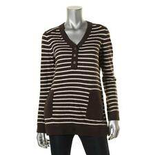 Tory Burch 6692 Womens Brown Knit Striped Long Sleeves Tunic Sweater Top M BHFO