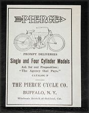 1910 OLD MAGAZINE PRINT AD, PIERCE MOTORCYCLES, SINGLE & FOUR CYLINDER CYCLES!