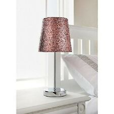 New Sparkle Collection Metallic Glitter Table Lamp Light Pink With Chrome Stand