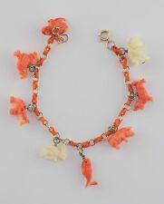 Vintage 14K Gold Link Carved Coral Link Carved Salmon Coral Eight Charm Bracelet