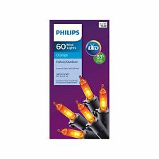 New ! Philips LED 60 ct Mini String Lights - Orange Black Wire 19.6 FT Christams