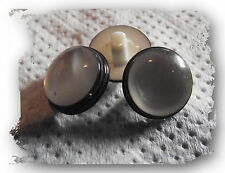 LOT 10  BOUTONS  Noir et blanc Oeil Yeux * 13 mm * pied * eyes button neuf