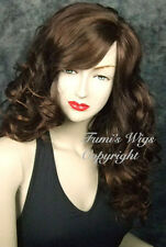 Long Side Parting Curly Wig In Medium Brown / 100% High Quality Japanese Fibre