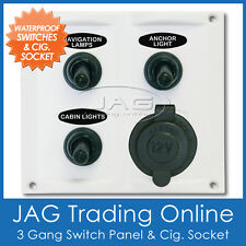 WHITE 3-GANG TOGGLE & 1 CIG SOCKET WATERPROOF SWITCH PANEL - Marine/Boat/RV