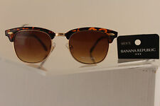 New Banana Republic Women Fashion Sunglass Gold Aviator Brown Lens BR Leopard