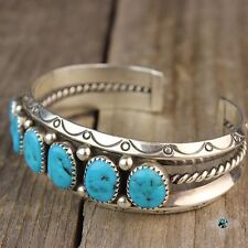 Vintage Navajo Natural Turquoise Sterling Silver Bracelet 92.5 Native Jewelry