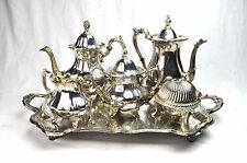 Silver Plated FB Rogers 1883 Tea Set Tray With Coffee Pots Sugar Creamer Bowl
