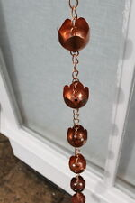 Rain Chains - Metal Lotus Flower Rain Chain - Copper Plated-1.8M Long