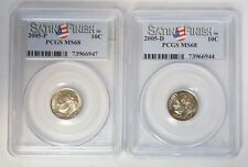 2005 P & D 10C Roosevelt Dime PCGS MS68 Satin Finish Set of 2 Coins