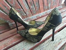 *BLacK GOLD * 7.5 Floral Thread Pointy Toe CARRIE Stiletto Heel PUMPs GuESS