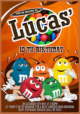 Personalised Birthday  M&M's themed  Invitations  8 cards  size A6
