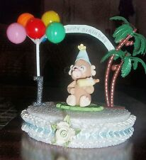 MONKEY TOPPER BIRTHDAY/BABY SHOWER DIAPER CAKE IN COLD PORCELAIN CENTERPIECE