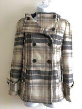 Zara Beige and Grey Wool Blend Hooded Coat. Small (UK 8/10)