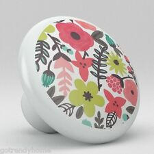 Flower Retro Colorful Pattern Ceramic Knobs Kitchen Drawer Cabinet Vanity 647